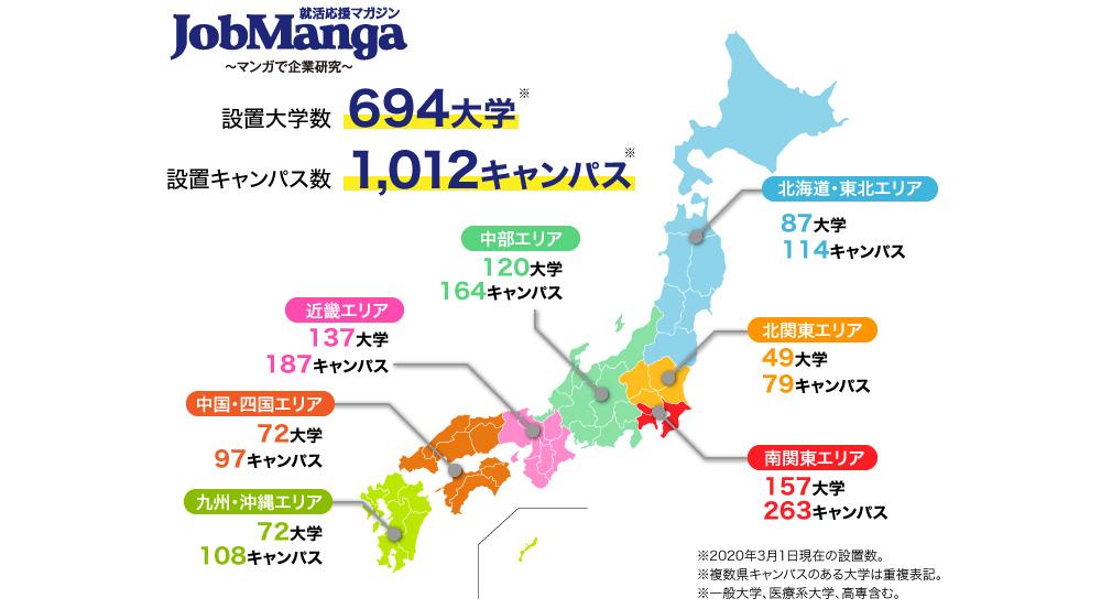 JobManga配布大学マップ